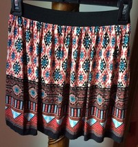 Forever 21 Mini Skirt Size PS Above Knee Multi Color Rayon Geometric Print - $5.86