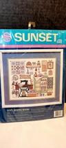"Sunset Stamped Cross Stitch Kit Barbara L Waters 1991 Muslin Sewing 16"" X 14"" - $42.00"