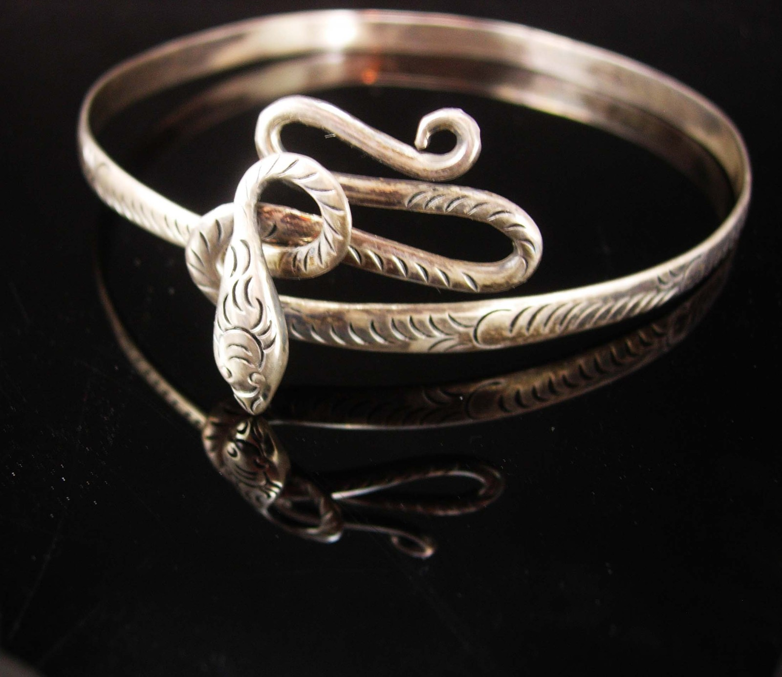 Antique sterling Snake arm band bracelet headband Coiled serpent Large Silver