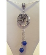 Beautiful Fairy Moon Necklace With Blue Lapis  22 Inch Chain - $15.99