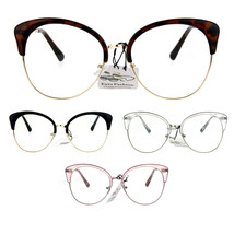 Womens Large Cat Eye Half Rim Clear Lens Fashion Glasses - $12.95