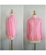 Juicy Couture MOONLIGHT STRIPE pink  button up BLOUSE 100% silk size XS - $28.71