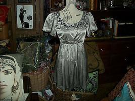 KENSIE Sassy Silver Beaded Silk Dress Size 2 - $13.86