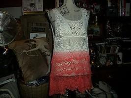 Anthropologie L'affaire Darling Tangerine+Cream Ombre Crochet Blouse Size M - $16.83