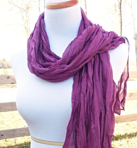 Layering Cotton Crinkle Scarf, Lightweight Scarves, Purple Soft Cotton Scarf