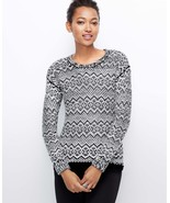 Ann Taylor Elliptical Stitch Sweater, size L, Black, NWHT - $52.00