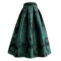 Women Dark Green Pleated Midi Skirt Outfit Pleated Party Skirt Plus Size image 3