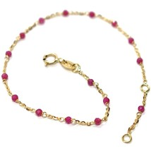 Bracelet Yellow Gold 18K 750, Cubic Zircon Red, Spheres Faceted, Rolo ' image 1