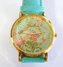 Geneva Platinum Bright Teal Peony Flowers Gold Bezel Strap Watch Strap Band - $7.91
