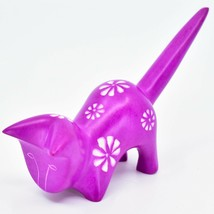 Vaneal Group Hand Crafted Carved Soapstone Fuchsia Pink Pouncing Cat Figurine image 2