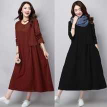 ZANZEA Women Long Sleeve Maxi Dress Vintage Pleated Tunic Oversize Shirt... - $33.66