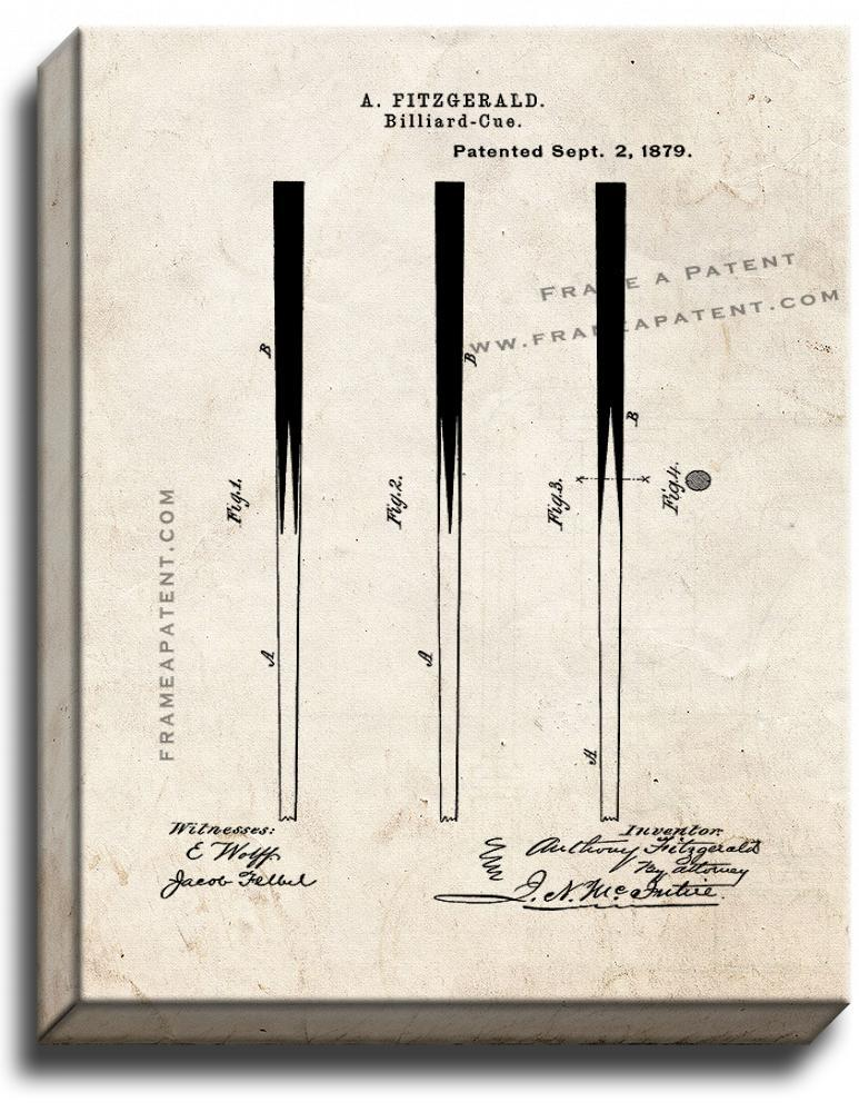 Primary image for Billiard Cue Patent Print Old Look on Canvas