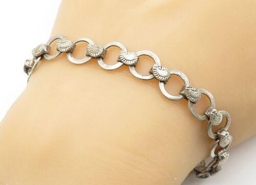 925 Sterling Silver - Vintage Paisley Detail Circle Link Chain Bracelet - B6325
