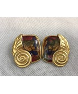 Gold Tone Multicolor Vintage 80s Pierced Earrings Collectible Gift - $6.26