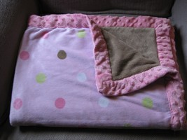 Just One You Thick Plush Pink Minky Brown Green White Dot Blanket 30X40 Vgc - $23.73