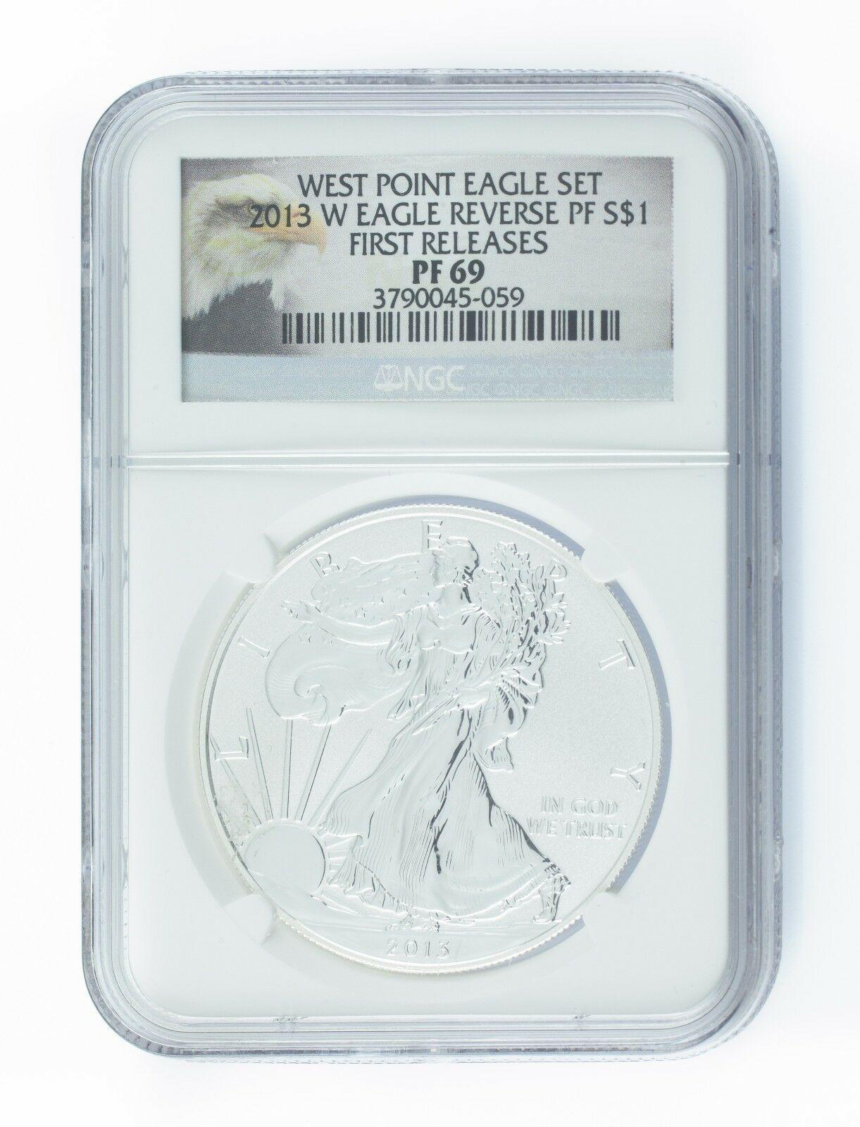 2013-W (Inverse Proof) Argent Eagle ( NGC PF-69 ) Premier Libère West Point Kit