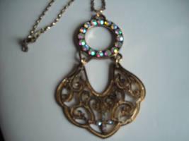 Necklace Gold Tone Filigree Metal & Aurora Borealis Rhinestones Gold Tone Chain image 3