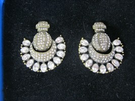 Heidi Daus Retro Fabulous Clip On Earrings Fan Shaped Clear Crystal - $49.49