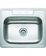 Aspen 25W X 22L X 7D Single Bowl Topmount 3-Hole 21G Stainless Steel Sink - $136.47