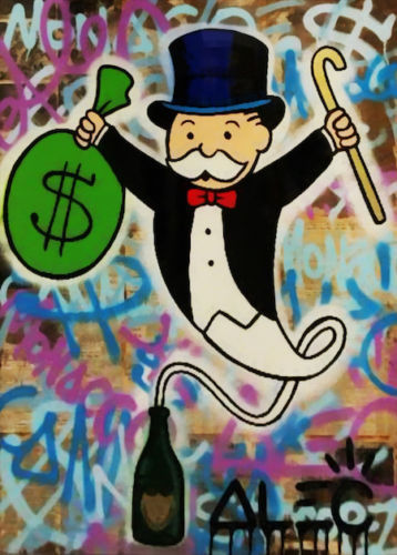 """Alec Monopoly oil Painting on Canvas graffiti art wall decor Champagne 28x36"""""""