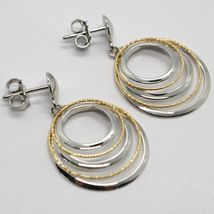 18K YELLOW WHITE GOLD PENDANT EARRINGS ALTERNATE WORKED CIRCLES, MADE IN ITALY image 3