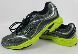 Fila Mens Sneakers Sz 8.5 Black Gray Green Lightweight Lace Up Running Shoes ** - $19.35