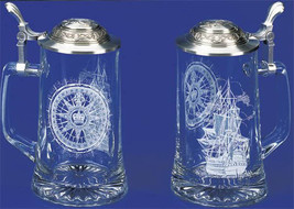 Nautical Beer Stein Etched Glass Stein Sailing Ship Compass Anchor Pewte... - $49.49