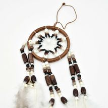 """Handcrafted Miniature 8"""" Natural Tone Dreamcatcher Plastic Wood Beads Feathers  image 3"""
