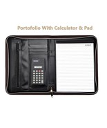 Brown Business A4 Portfolio Folder Calculator & Pad Document Organiser W... - $23.46