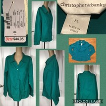 NEW! Christopher & Banks Ladies Button Front Shirt Size XL Green Long Sl... - $14.84