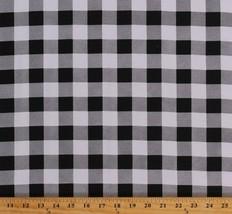 "Flannel Black & White Buffalo Plaid 1"" Checks Flannel Fabric Print BTY D269.04 - $6.99"
