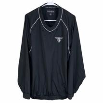 FootJoy V-Neck Pullover Golf Windbreaker Jacket Large Black Robert Trent Jones - $34.55