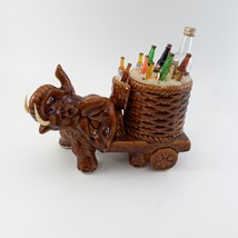 Brown Elephant with Cart of Drinks on Ice Rare image 2