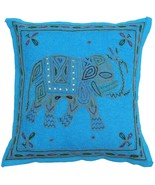 "Blue 16"" Cushion Pillow Cover Gold Thread Embroidered Sofa Throw Indian ... - $8.90"