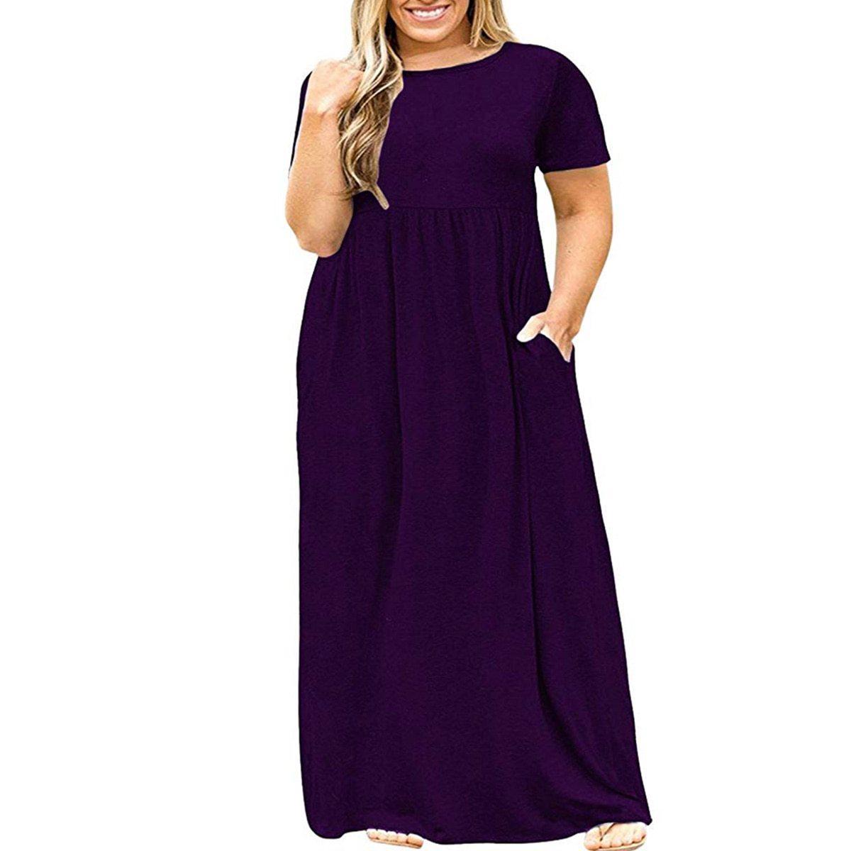 Maternity Dress Solid Color Loose Comfy Mom Dress image 3
