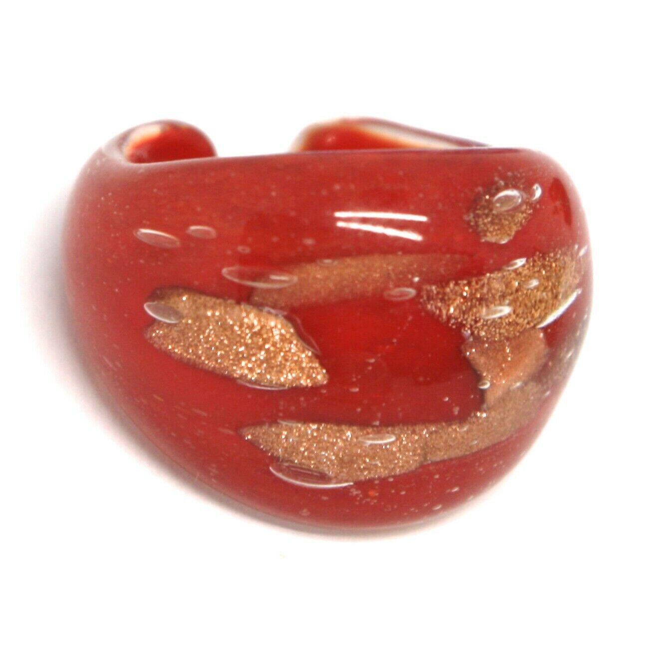 Ring Antica Murrina, Murano Glass, Red, Glitter Orange, Band