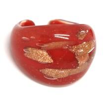 Ring Antica Murrina, Murano Glass, Red, Glitter Orange, Band image 1