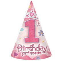 1st Birthday Princess Favor Cone Hats 8 Ct Birthday Party Favor Supplies... - $6.88