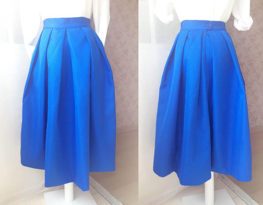 Royal Blue A Line Full Midi Length Taffeta Tea Length Skirt with lining pockets