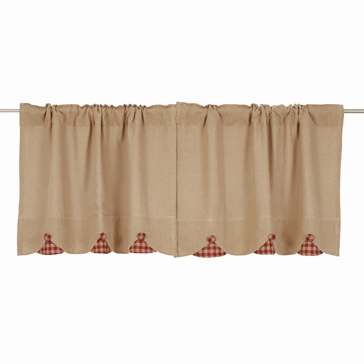 BURLAP NATURAL Tier w/Burgundy Check - Set of 2 - 24x36 - Farmhouse - VHC Brands
