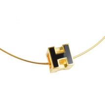 100% AUTHENTIC HERMES H CUBE BLACK GOLD ENAMEL PENDANT NECKLACE SILVER BNIB