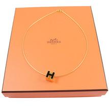 100% AUTHENTIC HERMES H CUBE BLACK GOLD ENAMEL PENDANT NECKLACE SILVER BNIB image 5