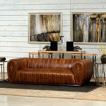 Equestrian Style Cuba Brown Cow Leather Steel Base Industrial Sofa,89''L. - $3,850.00
