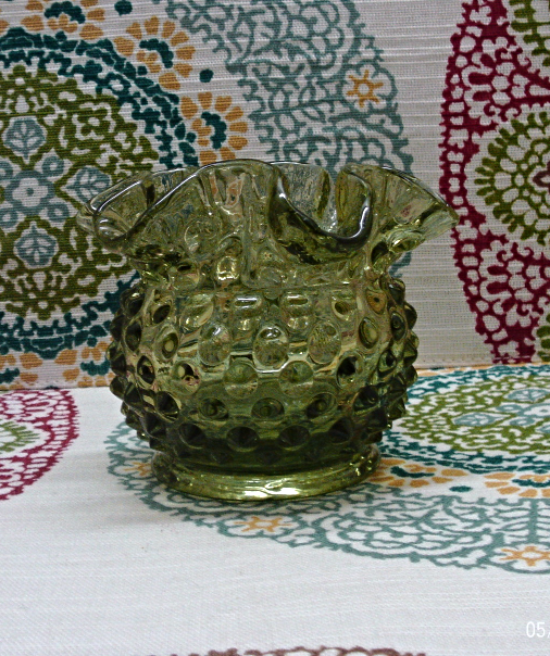 Two Vintage FENTON Glass Colornial Green Hobnail  // Round Vase // Pitcher Vase