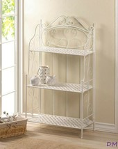 White Iron Bakers Rack with 3 Basket Weave Shelves and Scrolling Flourishes - $111.82