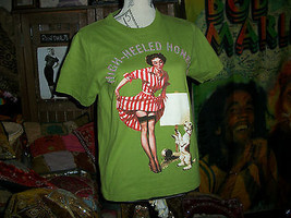 "WORK Funky Green ""High Heeled Honey's"" Beaded Tee Size M - $9.90"