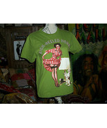 "WORK Funky Green ""High Heeled Honey's"" Beaded Tee Size M - $12.90"