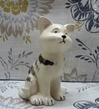 Vintage Hand Painted Black & White Tabby Cat Figurine, Stripped Kitty,  - $6.00
