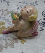 Vintage Pink Tutu Ballerina Girl Figurine // Ruffled Tutu Girl //  - $10.02