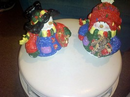 Set of 2 Festive Snowmen Figurines - $10.00